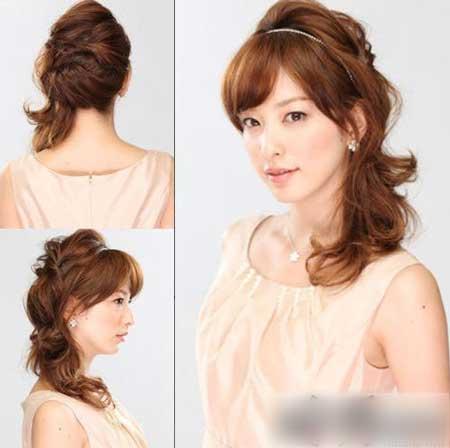 干练高贵新娘发型 优雅的欧式新娘发型的花朵与长发