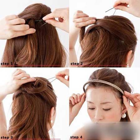 新娘发型教程图解   发型DIY步骤:   1. 高高的束起发束,用手指扭曲发束的同时往上压发束,使造型更具立体感。用与发色相似或相近的发夹进行固定。   2. 取两边耳上的一束头发叠加在每边的中心,先左边,然后右边,然后用发夹固定好。   3. 再从耳上取头发,叠加并拧绕出圈圈,进行固定。   4.